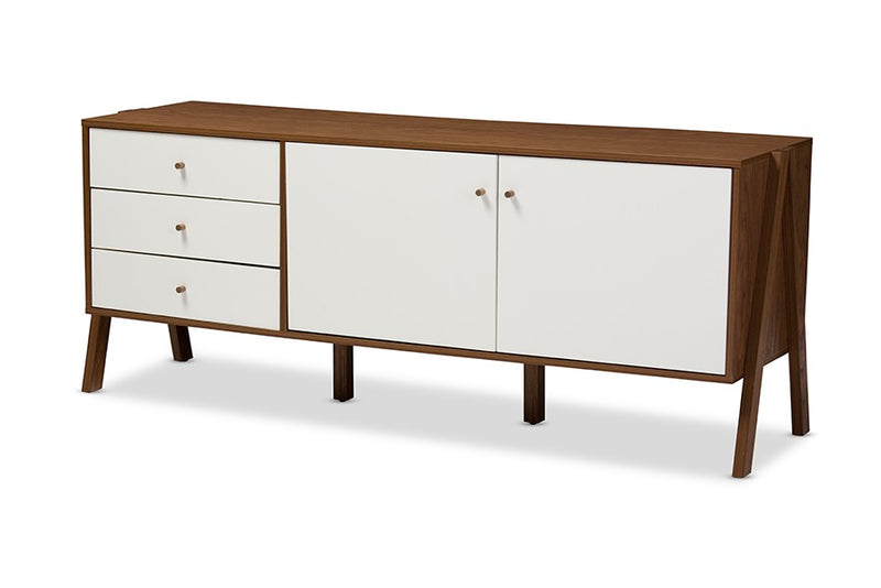Harlow Scandinavian Style White and Walnut Wood Sideboard Storage Cabinet