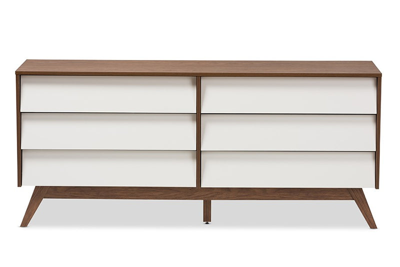 Hildon Mid-Century Modern White and Walnut Wood 6-Drawer Storage Dresser