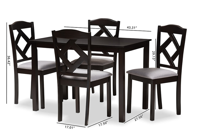 Helena Espresso Brown Finished/Grey Fabric Upholstered 5pcs Dining Set