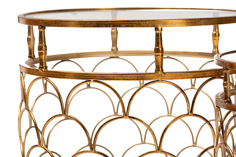 George Antique Gold Metal, Glass 2-Piece Stackable Accent Table Set