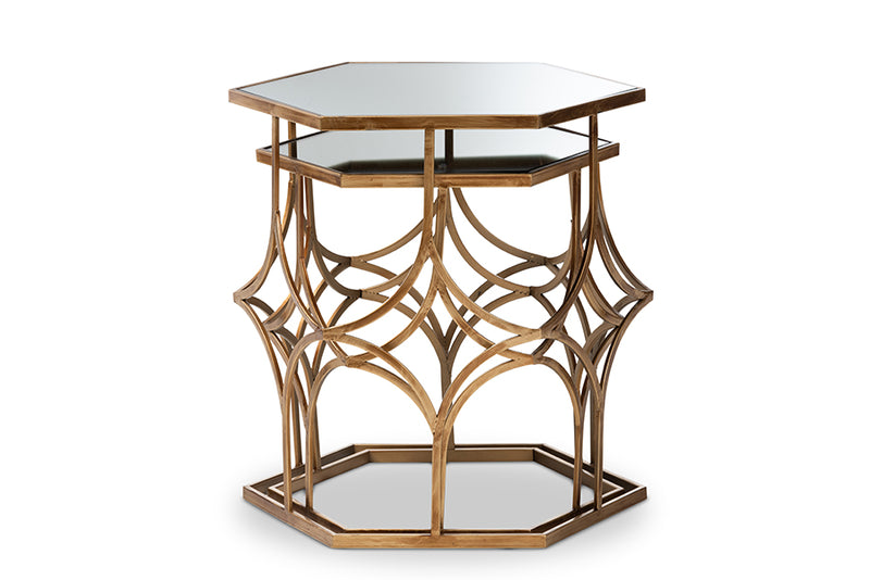 Julianna Antique Gold Metal, Glass 2-Piece Stackable Accent Table Set