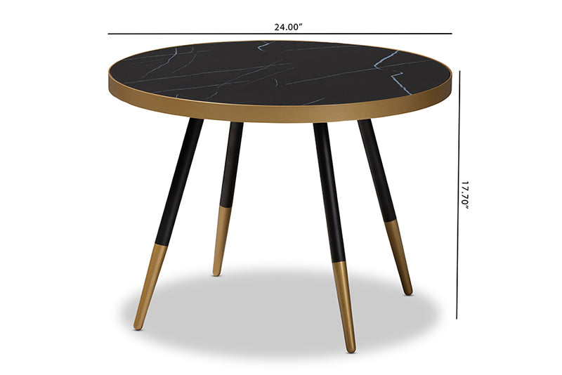 Kimberly Round Glossy Marble Metal Coffee Table w/Two-Tone Black and Gold Legs