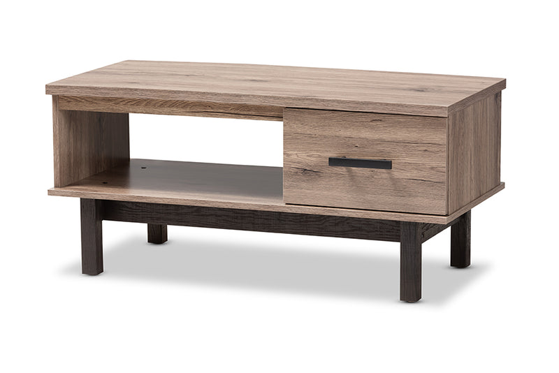 Maxwell Two-Tone Oak Brown, Black Wood 1-Drawer Coffee Table