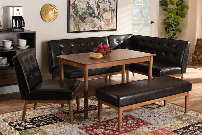 Auburn Dark Brown Faux Upholstered Leather 5pcs Wood Dining Nook Set