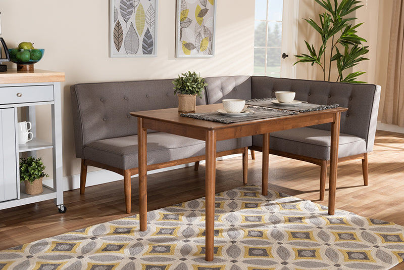 Auburn Gray Fabric Upholstered 3pcs Wood Dining Nook Set