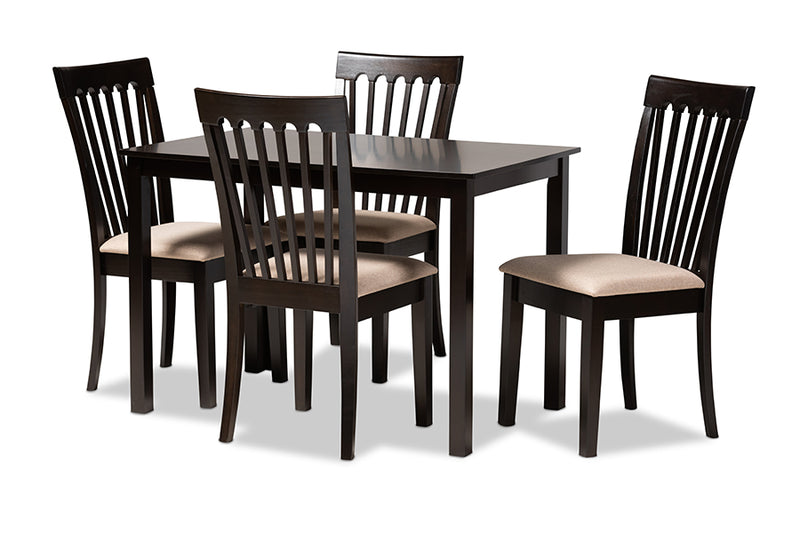 Chico Sand Fabric Upholstered Espresso Brown Finished Wood 5pcs Dining Set