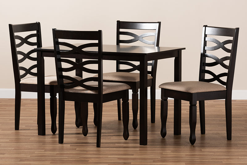 Carmel Sand Fabric Upholstered Espresso Brown Finished Wood 5pcs Dining Set