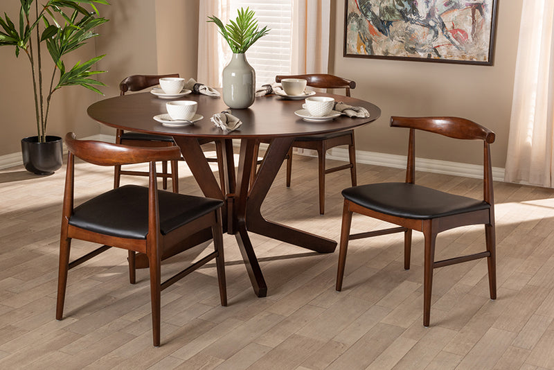 Birmingham Black Faux Leather Upholstered Walnut Finished 5pcs Wood Dining Set