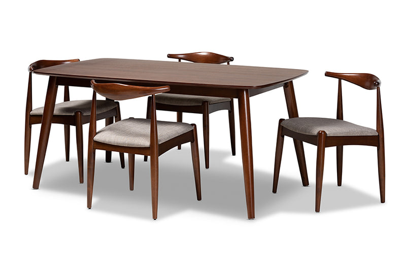 Ashton Light Gray Fabric Upholstered Walnut Finished Wood 5pcs Dining Set