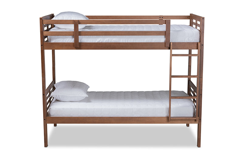Emilia Walnut Brown Wood Bunk Bed (Twin)