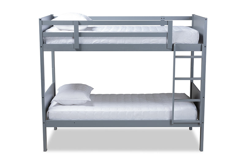 Zoe Gray Wood Bunk Bed (Twin)
