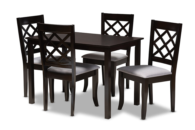 Concord Grey Fabric Upholstered Espresso Brown Finished 5pcs Wood Dining Set