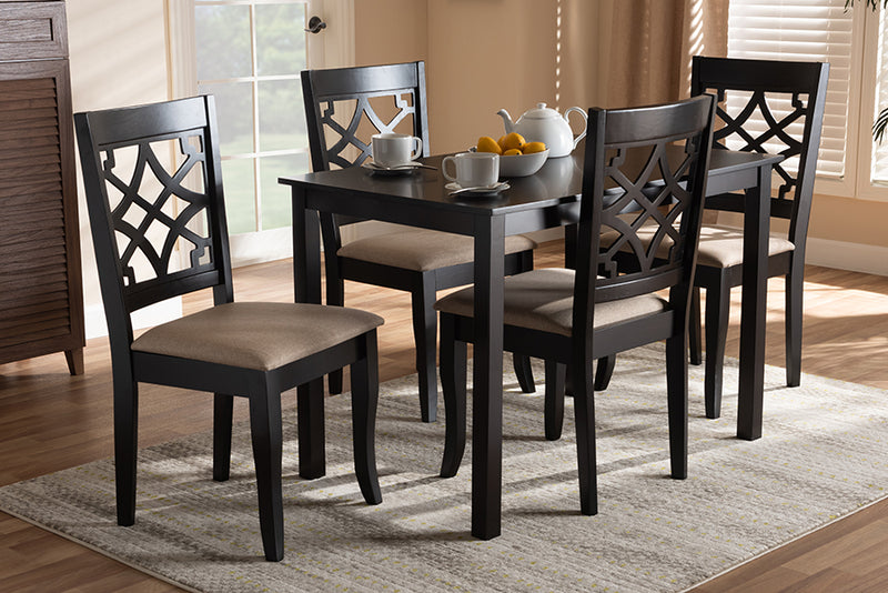 Davis Sand Fabric Upholstered Espresso Brown Finished 5pcs Wood Dining Set