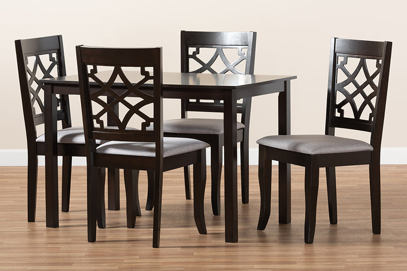 Davis Grey Fabric Upholstered Espresso Brown Finished 5pcs Wood Dining Set