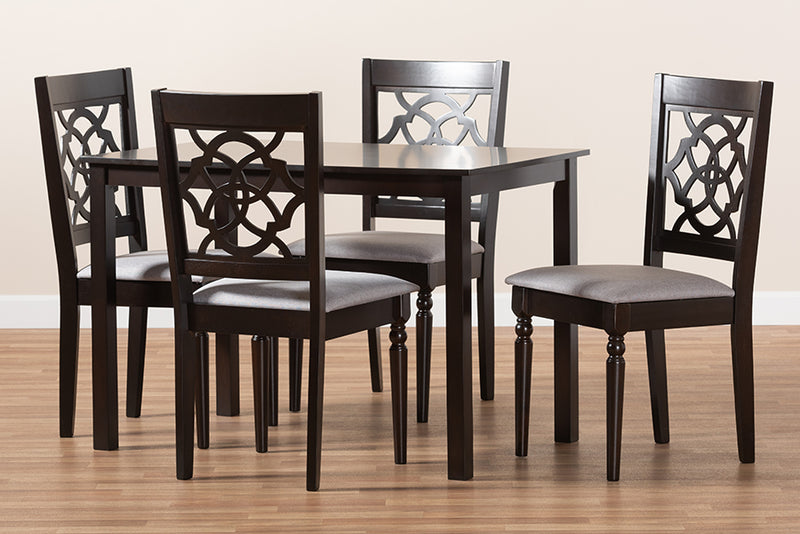Downey Grey Fabric Upholstered Espresso Brown Finished 5pcs Wood Dining Set