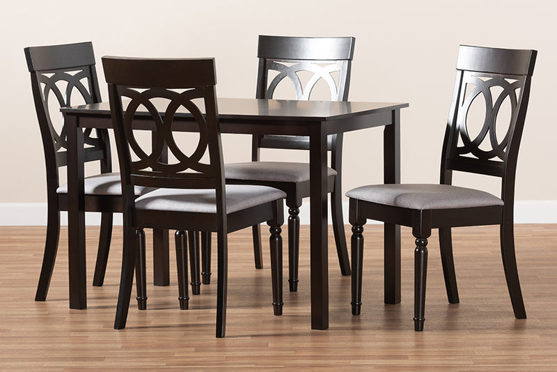 Fremont Grey Fabric Upholstered Espresso Brown Finished 5pcs Wood Dining Set