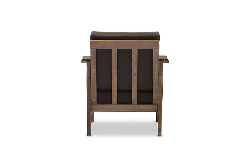 Pierce Walnut Brown Wood and Dark Brown Faux Leather 1-Seater Lounge Chair