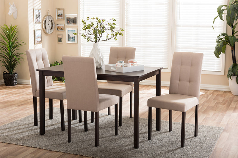 Athens 5pcs Beige Fabric Upholstered Grid-tufting Dining Set