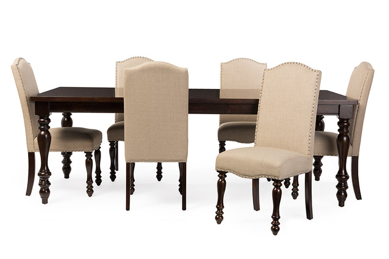 Haines Oak Brown 7pcs Dining Set w/72-inch Extendable Top Dining Table