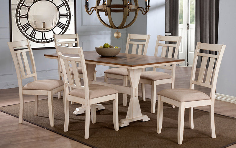 Norwalk Antique Oak Wood/Distressed White 7pcs Dining Set w/Trestle Base 60-Inch Fixed Top Dining Table