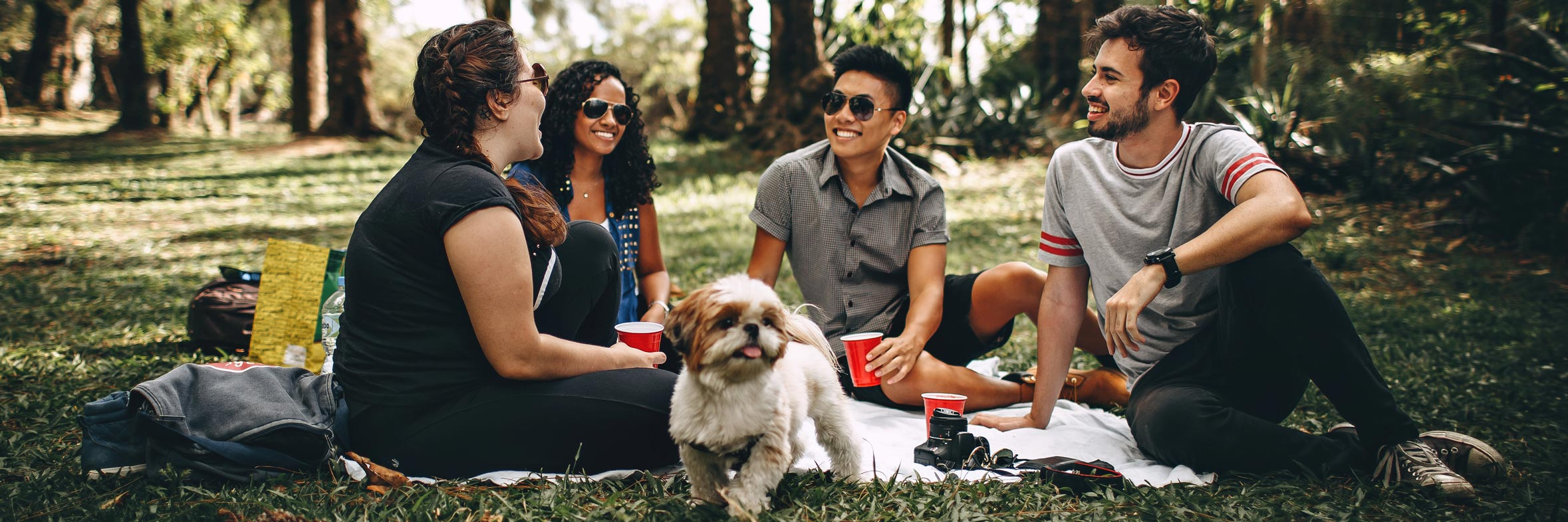 Friends picnicking in the park with their small dog.