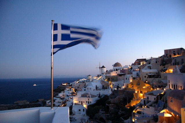 Flag of Greece flapping in the wind