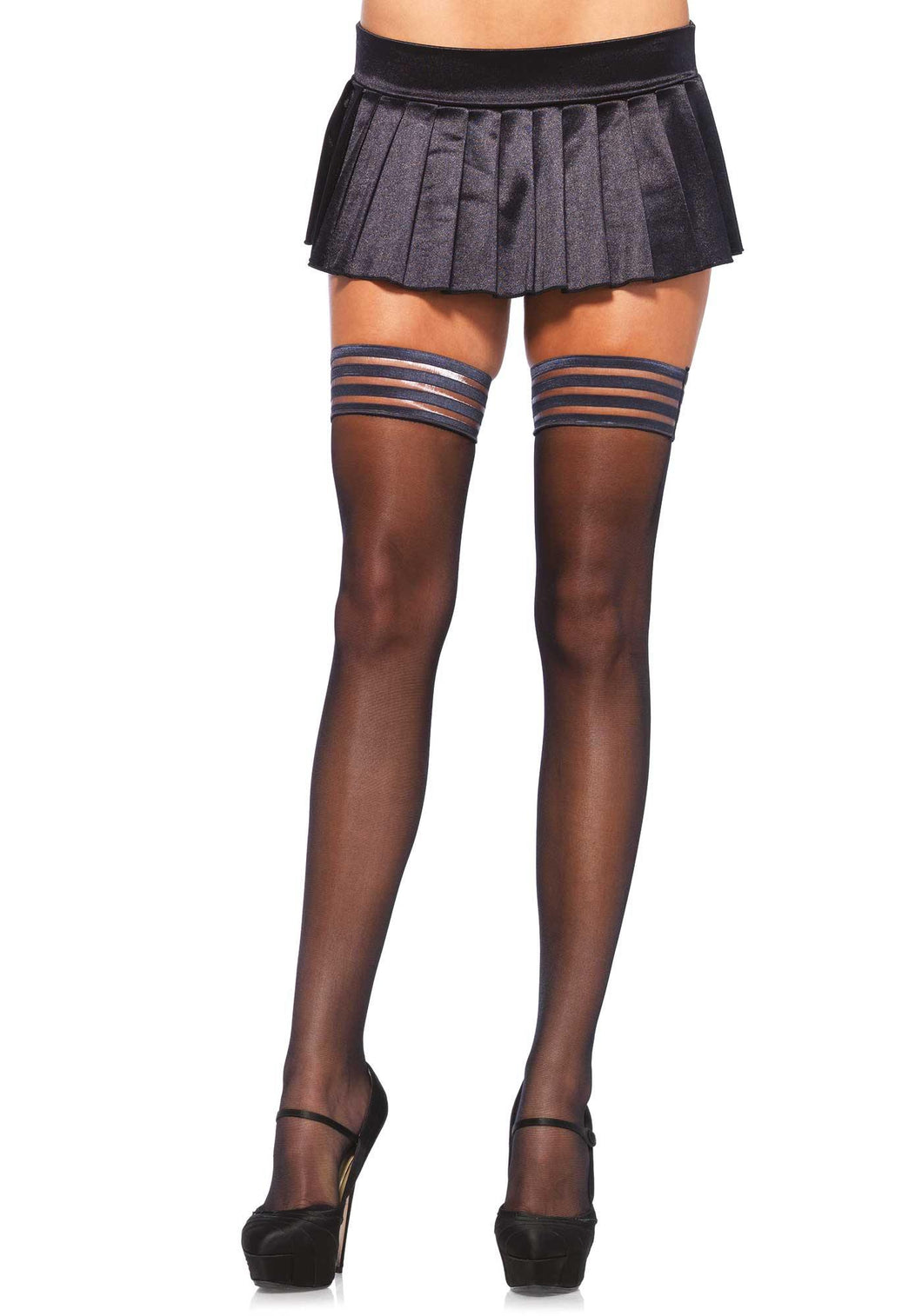 Sheer Striped Top Thigh High Hold-Ups - Amore Lingerie