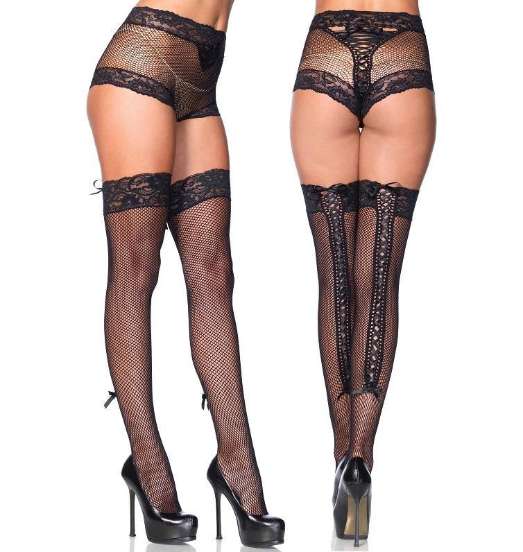 Lace Trim Fishnet Lace Up Panty and Thigh High Hold-Ups - Amore Lingerie