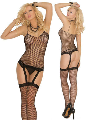 Diamond Net Camisette G-String and Stockings - Amore Lingerie