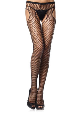 Black Industrial Net Suspender Tights - Amore Lingerie