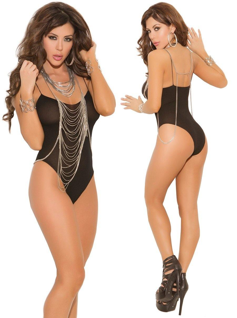 Black Opaque Teddy with Spaghetti Straps - Amore Lingerie
