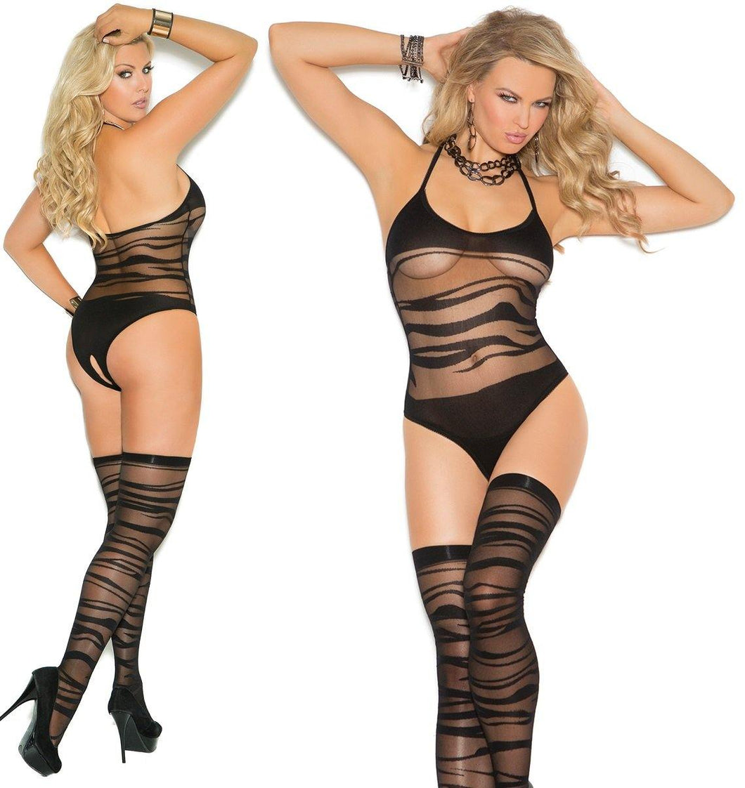 Ripple Wave Crotchless Teddy and Stockings - Amore Lingerie
