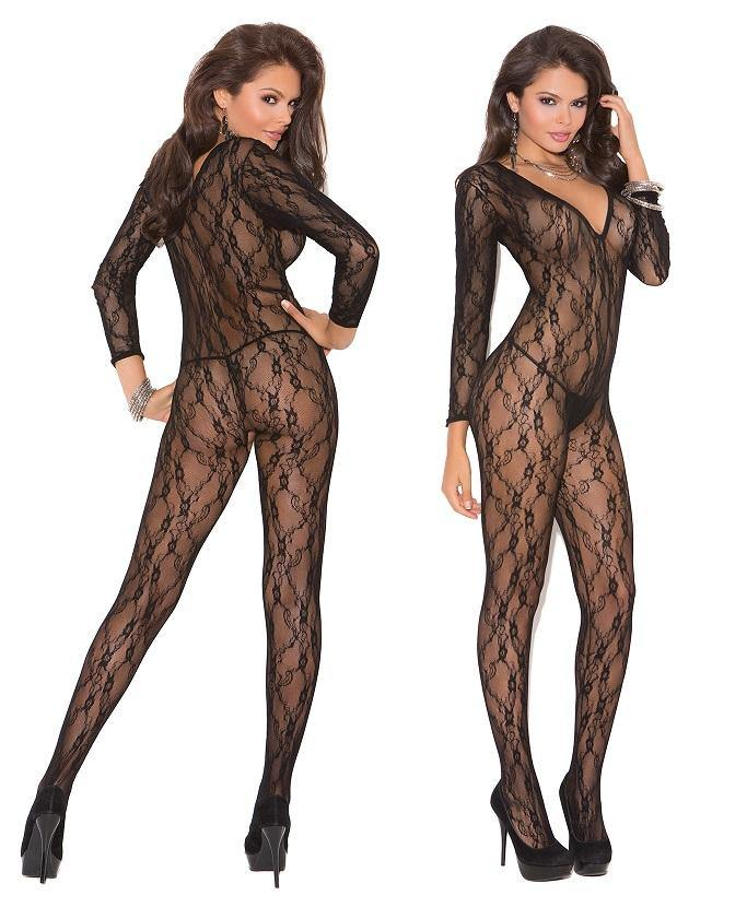 Black Deep V Long Sleeve Crotchless Bodystocking - Amore Lingerie