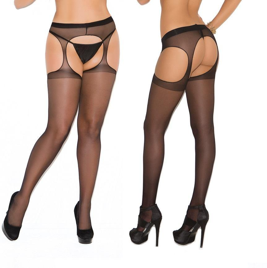 Black Sheer Suspender Tights - Amore Lingerie