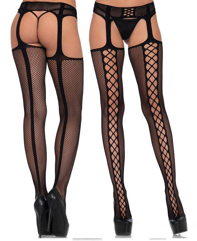 Black Net Faux Lace-Up Back Seam Suspender Tights - Amore Lingerie