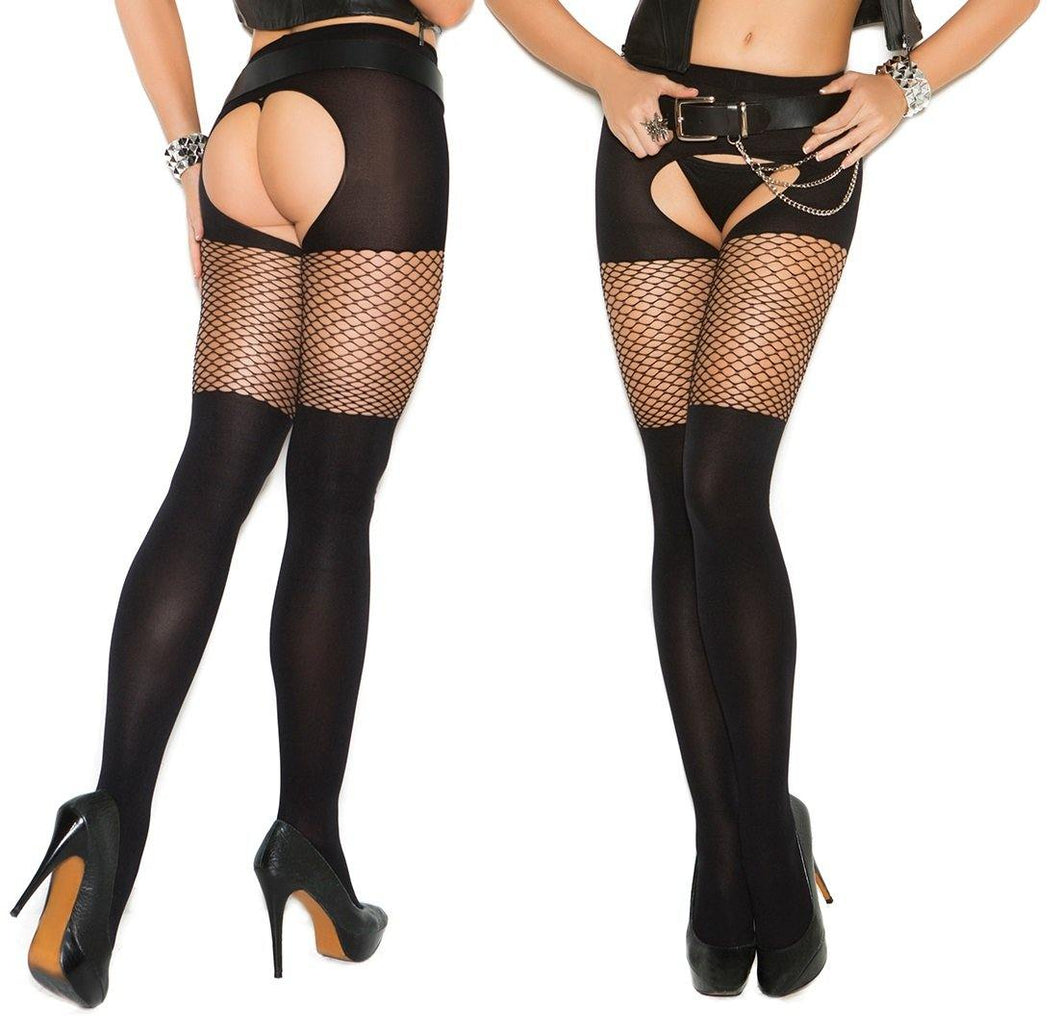 Black Crotchless Tights with Diamond Net Top - Amore Lingerie