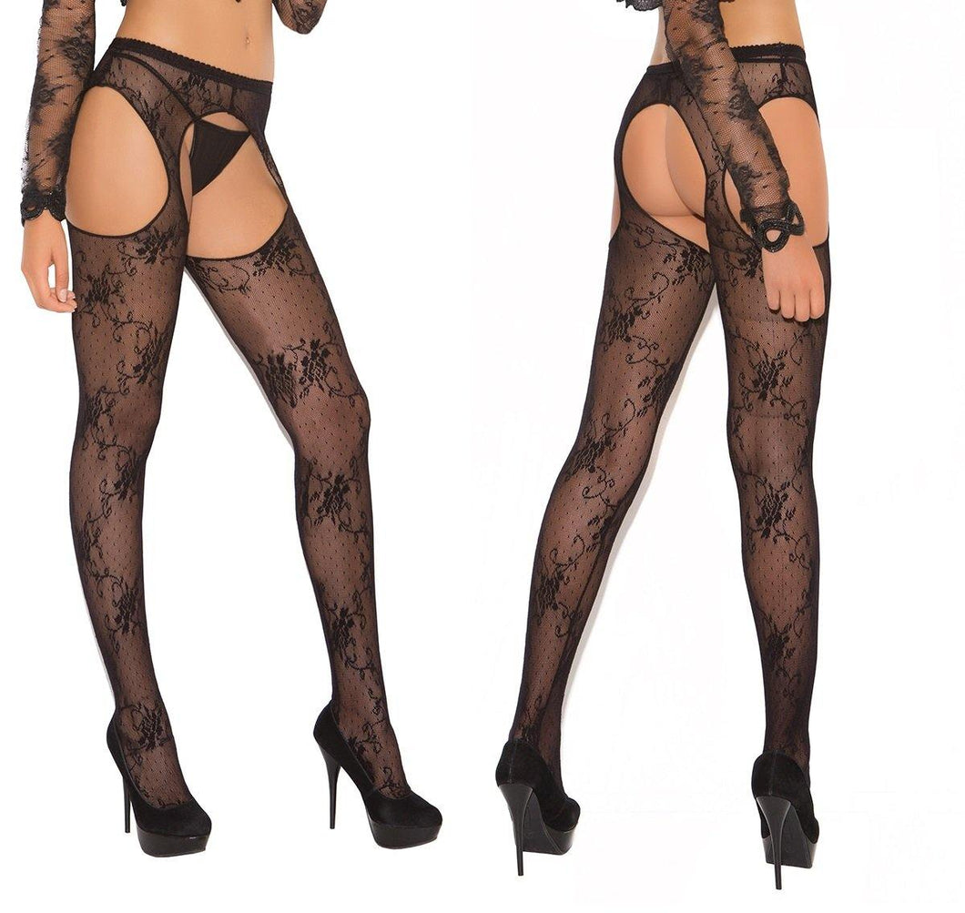 Black Floral Lace Suspender Tights - Amore Lingerie