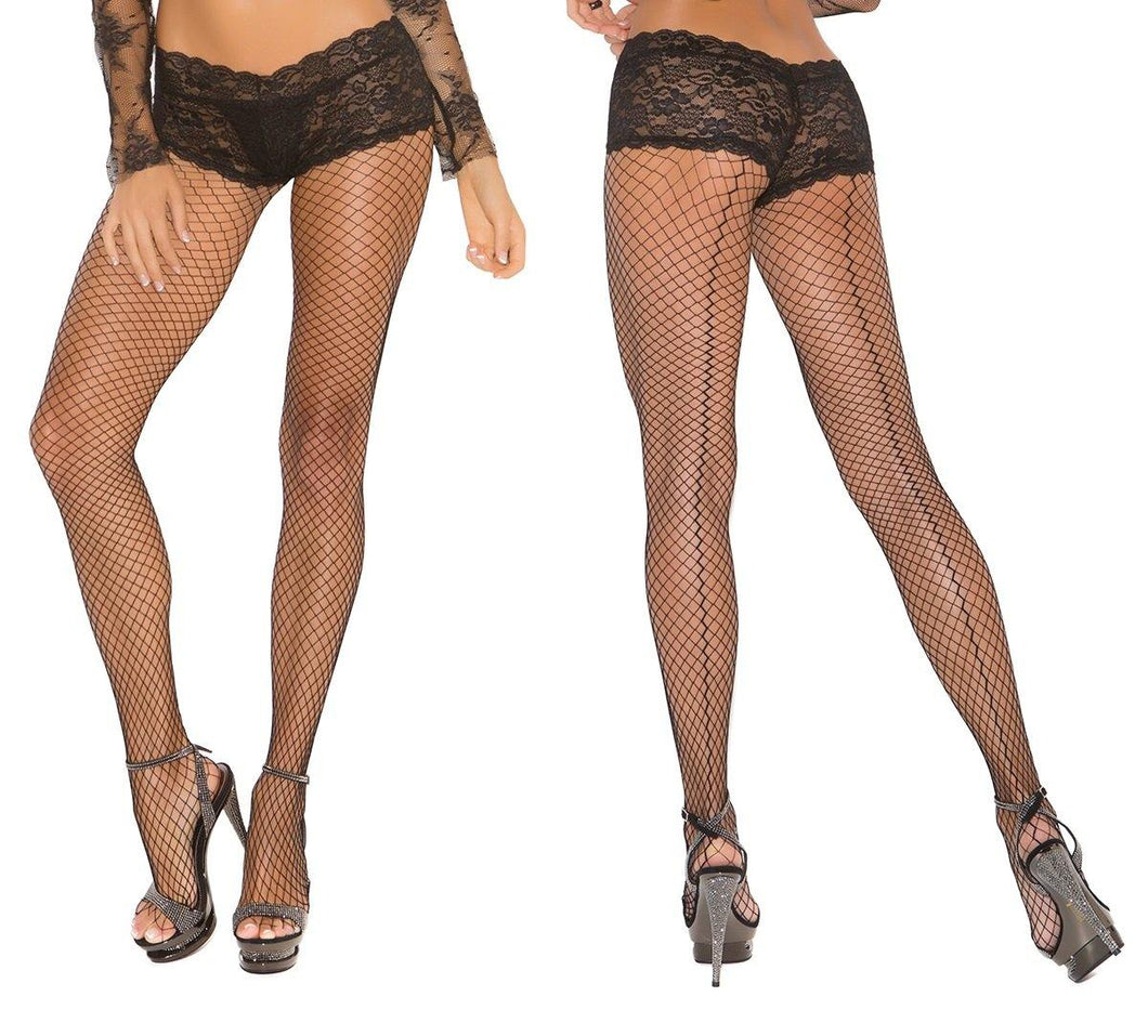 Fence Net Back Seam Tights Attached Panty - Amore Lingerie