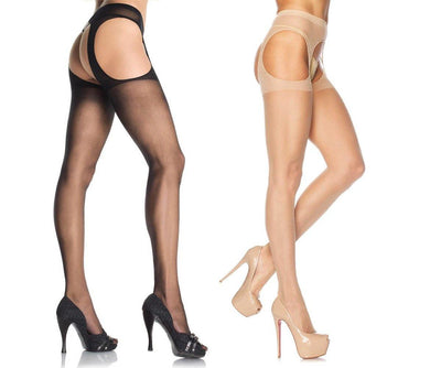 Plain Sheer Suspender Tights - Amore Lingerie