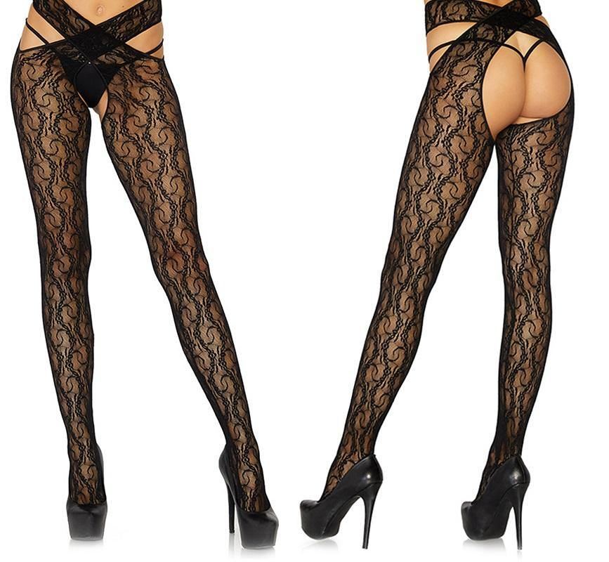 Daisy Chain Floral Lace Crotchless Wrap Around Tights - Amore Lingerie