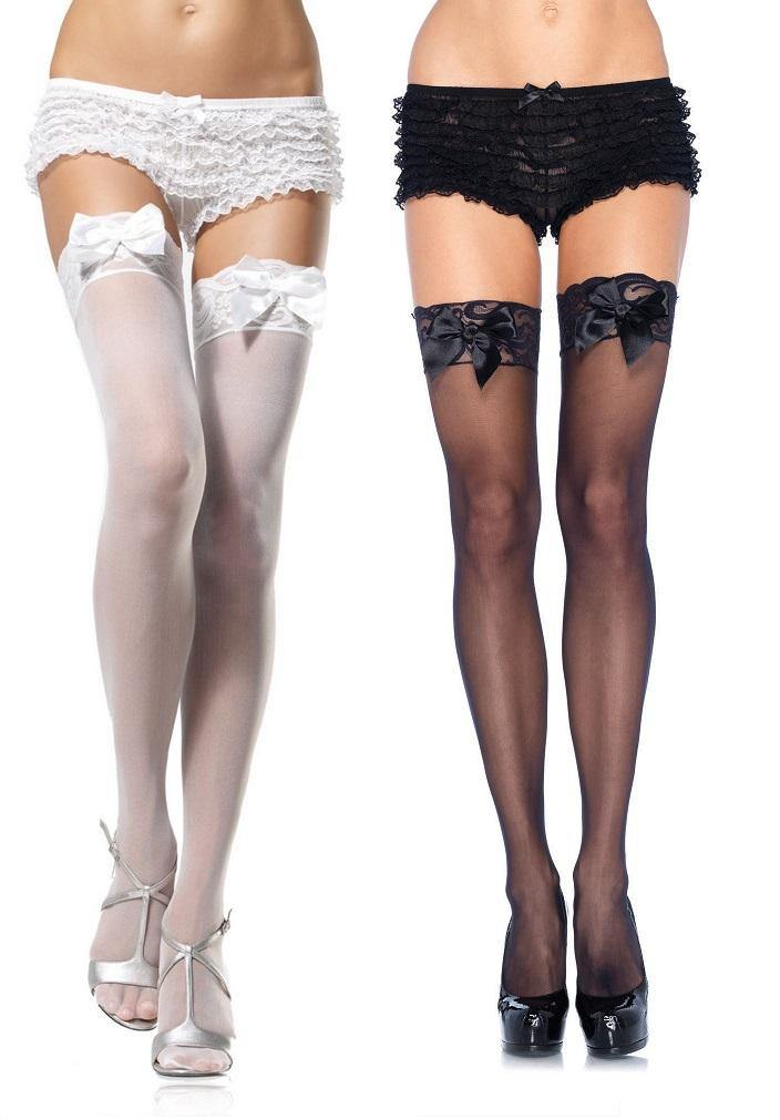 Plain Sheer Lace Top Thigh Highs with Bows - Amore Lingerie
