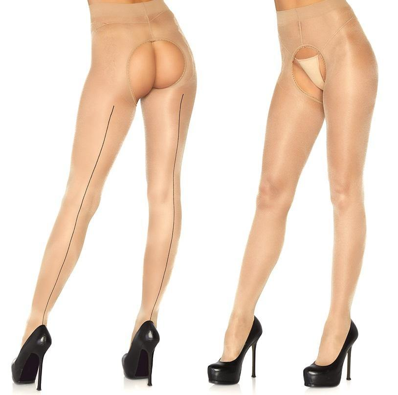 Nude French Cut Crotchless Tights Black Backseam - Amore Lingerie