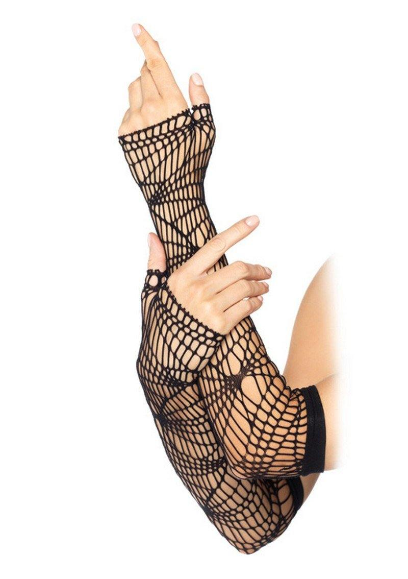 Black Distressed Net Arm Warmers - Amore Lingerie