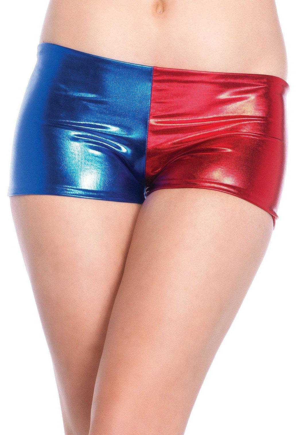 Blue/Red Harlequin Misfit Booty Shorts - Amore Lingerie