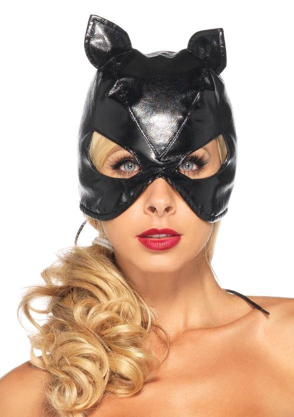 Black Faux Leather Cat Mask Lace Up Back - Amore Lingerie