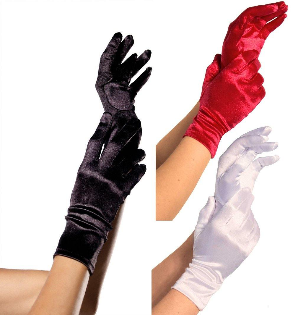 Wrist Length Satin Gloves - Amore Lingerie