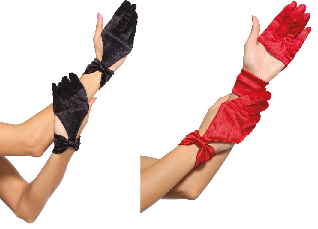 Satin Cut Out Gloves - Amore Lingerie