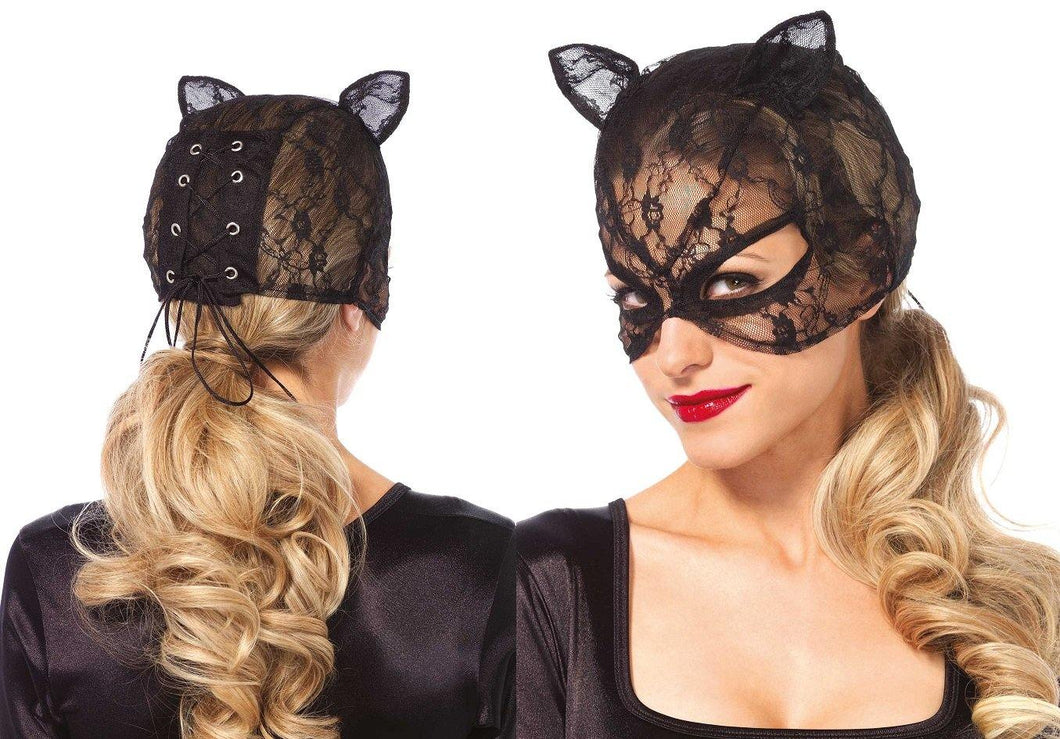Black Lace Cat Mask with Lace-Up Back - Amore Lingerie
