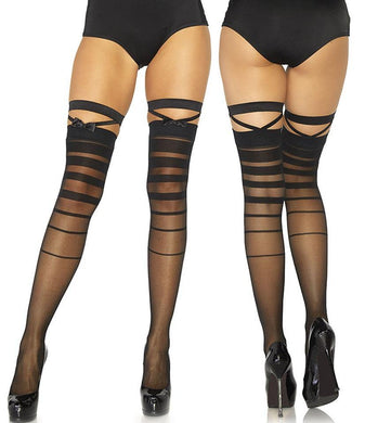 Sheer Halftone Stripe Thigh Highs Bow and Garter Detail - Amore Lingerie