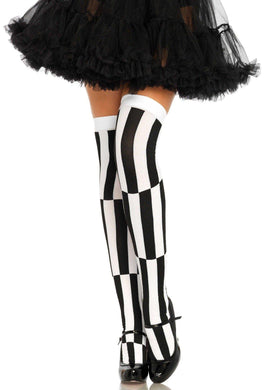 Black/White Stripe Illusion Opaque Thigh Highs - Amore Lingerie